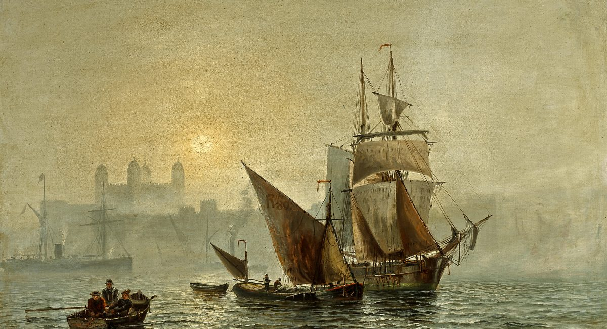 Charles_John_De_Lacy_-_Mist_in_port,_London