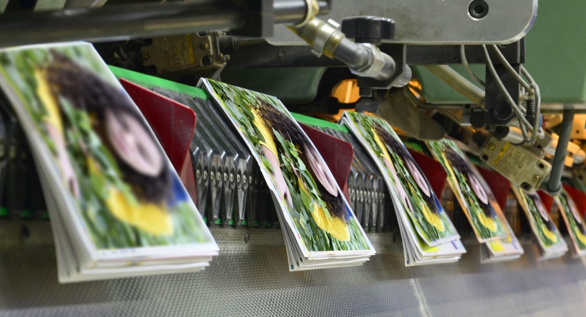 Brochure and magazine stitching process. Close-up of the  offset conveying process of a full-automatic stitching unit.